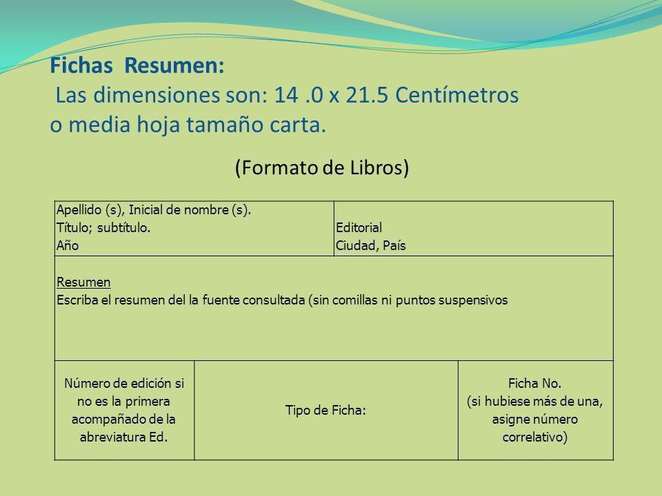 Fichas Resumen: Las dimensiones son: 14 .0 x 21.5 Centímetros