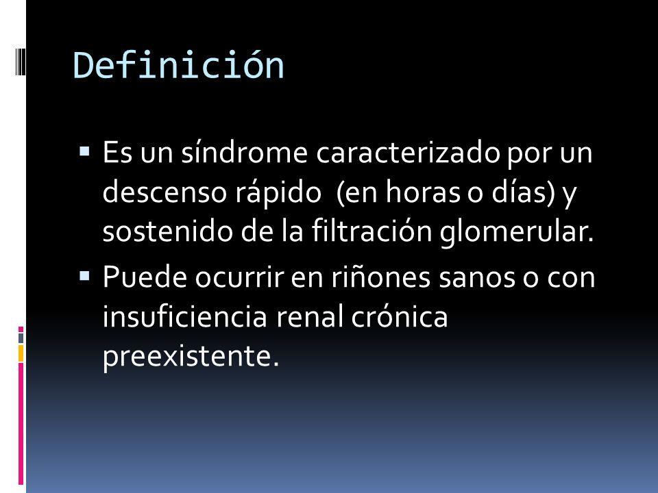 Definición Es un síndrome caracterizado por un descenso rápido (en horas o días) y sostenido de la filtración glomerular.