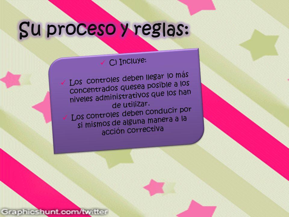 Su proceso y reglas: C) Incluye: