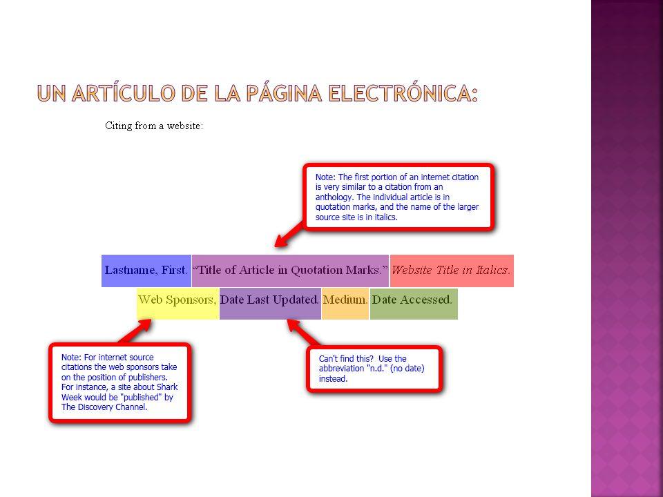 UN ARTÍCULO DE LA PÁGINA electrónica: