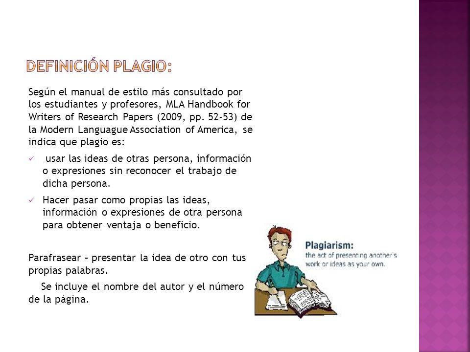Definición plagio:
