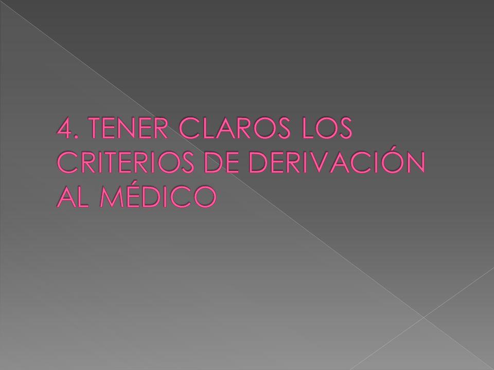 4. TENER CLAROS LOS CRITERIOS DE DERIVACIÓN AL MÉDICO