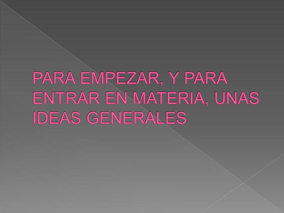 PARA EMPEZAR, Y PARA ENTRAR EN MATERIA, UNAS IDEAS GENERALES