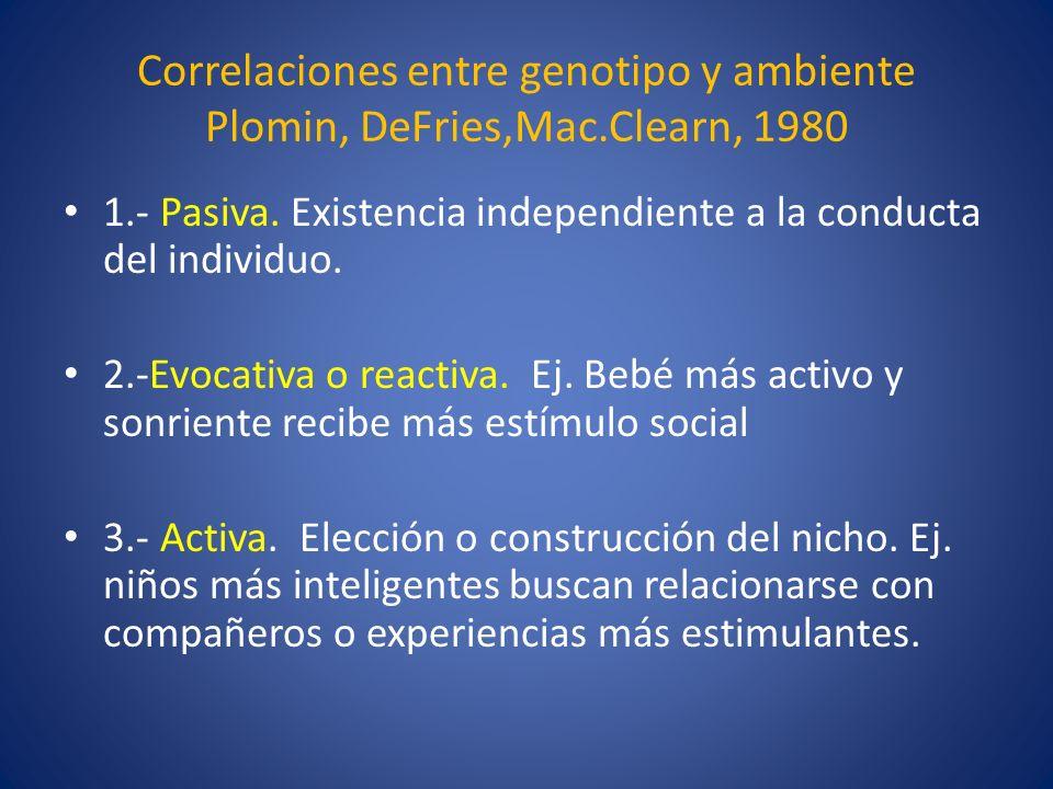 Correlaciones entre genotipo y ambiente Plomin, DeFries,Mac