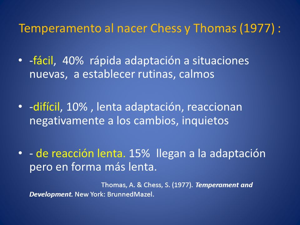 Temperamento al nacer Chess y Thomas (1977) :