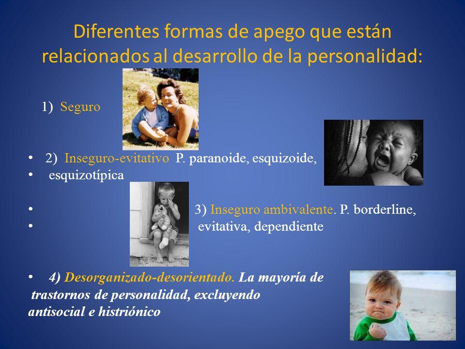Diferentes formas de apego que están relacionados al desarrollo de la personalidad: