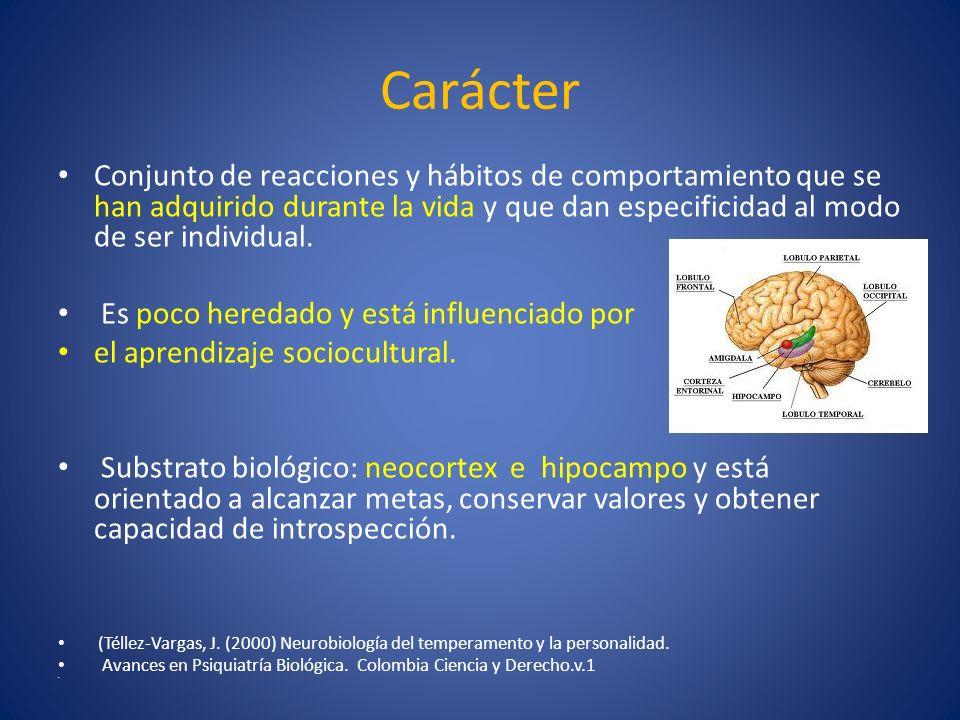 Carácter Conjunto de reacciones y hábitos de comportamiento que se han adquirido durante la vida y que dan especificidad al modo de ser individual.