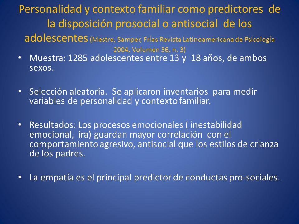 Personalidad y contexto familiar como predictores de la disposición prosocial o antisocial de los adolescentes (Mestre, Samper, Frías Revista Latinoamericana de Psicología 2004, Volumen 36, n. 3)