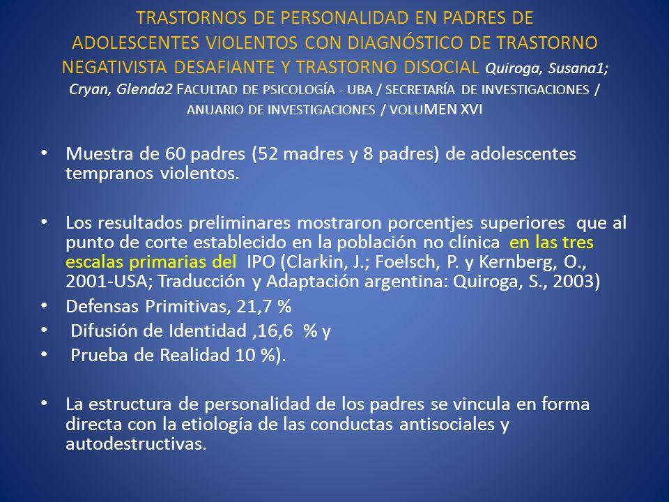 TRASTORNOS DE PERSONALIDAD EN PADRES DE ADOLESCENTES VIOLENTOS CON DIAGNÓSTICO DE TRASTORNO NEGATIVISTA DESAFIANTE Y TRASTORNO DISOCIAL Quiroga, Susana1; Cryan, Glenda2 FACULTAD DE PSICOLOGÍA - UBA / SECRETARÍA DE INVESTIGACIONES / ANUARIO DE INVESTIGACIONES / VOLUMEN XVI