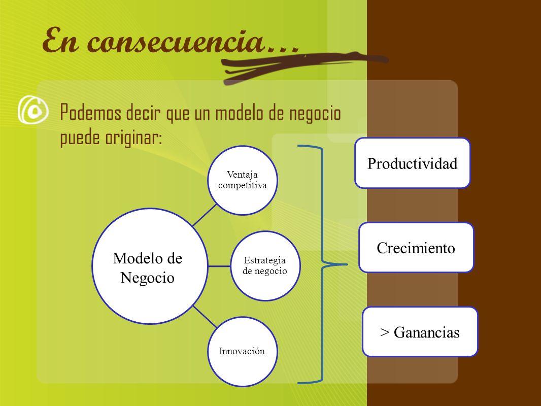Cómo evaluar tu idea En consecuencia… Podemos decir que un modelo de negocio puede originar: Productividad.