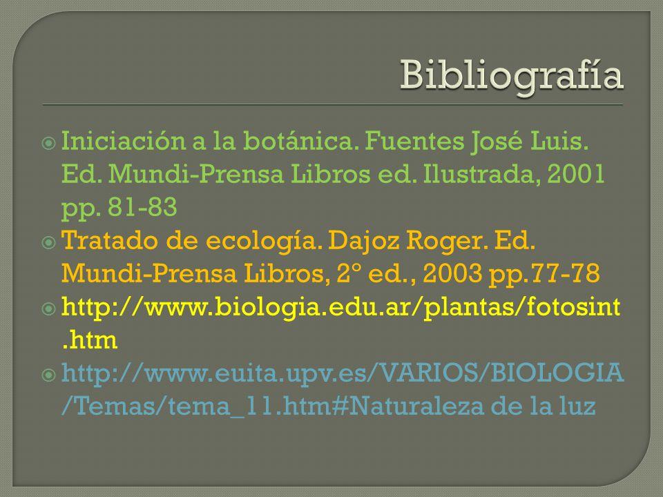 Bibliografía Iniciación a la botánica. Fuentes José Luis. Ed. Mundi-Prensa Libros ed. Ilustrada, 2001 pp. 81-83.