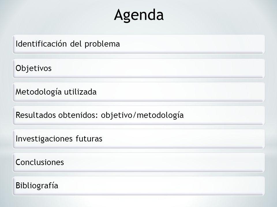 Agenda Identificación del problema Objetivos Metodología utilizada