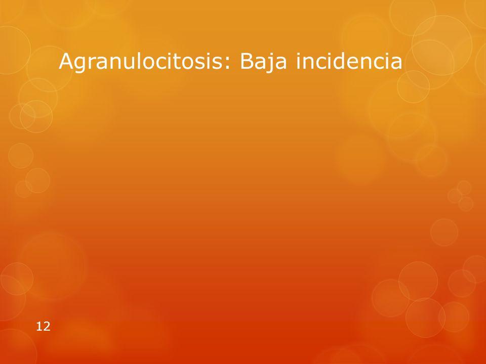 Agranulocitosis: Baja incidencia