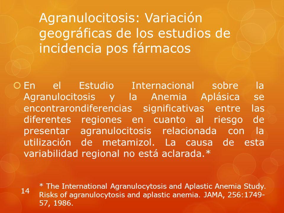 Agranulocitosis: Variación geográficas de los estudios de incidencia pos fármacos