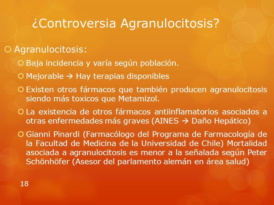 ¿Controversia Agranulocitosis