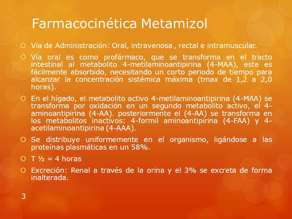 Farmacocinética Metamizol