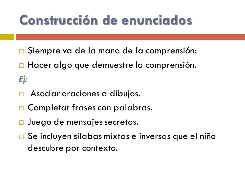 Construcción de enunciados