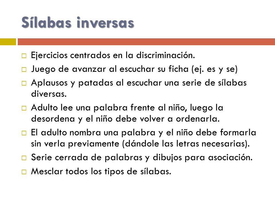 Sílabas inversas Ejercicios centrados en la discriminación.