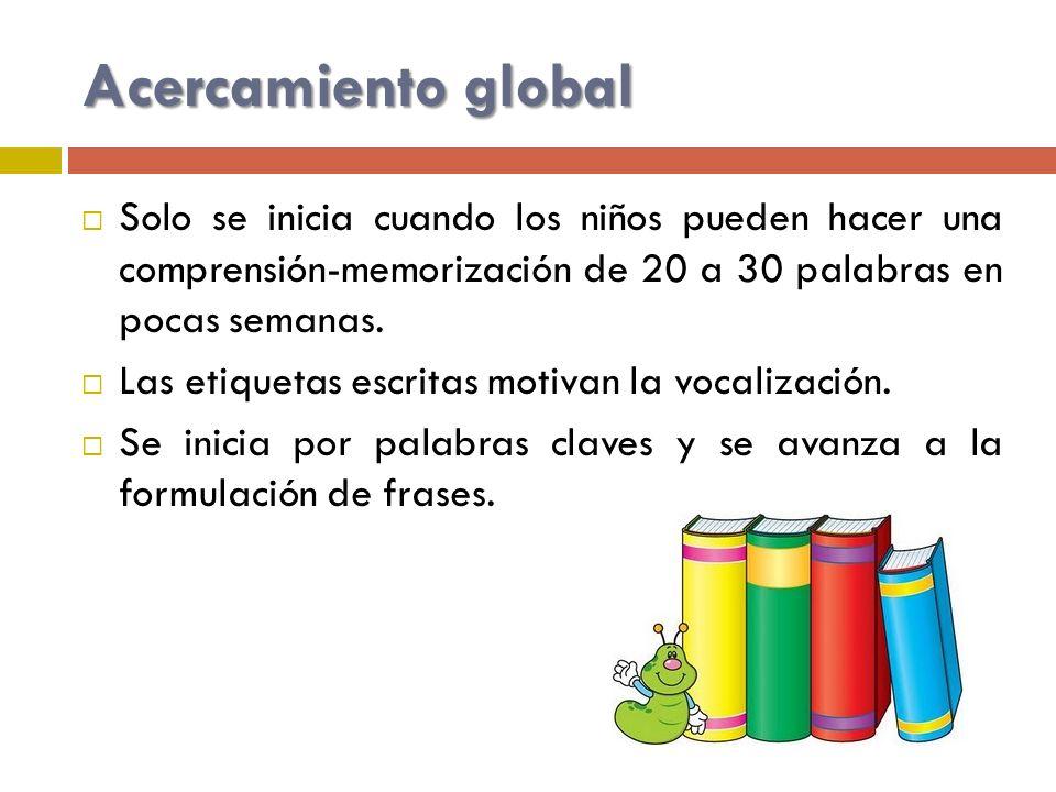 Acercamiento global Solo se inicia cuando los niños pueden hacer una comprensión-memorización de 20 a 30 palabras en pocas semanas.
