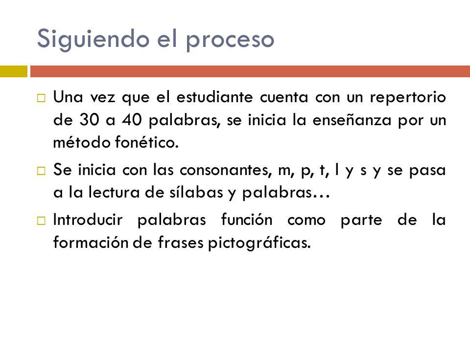 Siguiendo el procesoUna vez que el estudiante cuenta con un repertorio de 30 a 40 palabras, se inicia la enseñanza por un método fonético.