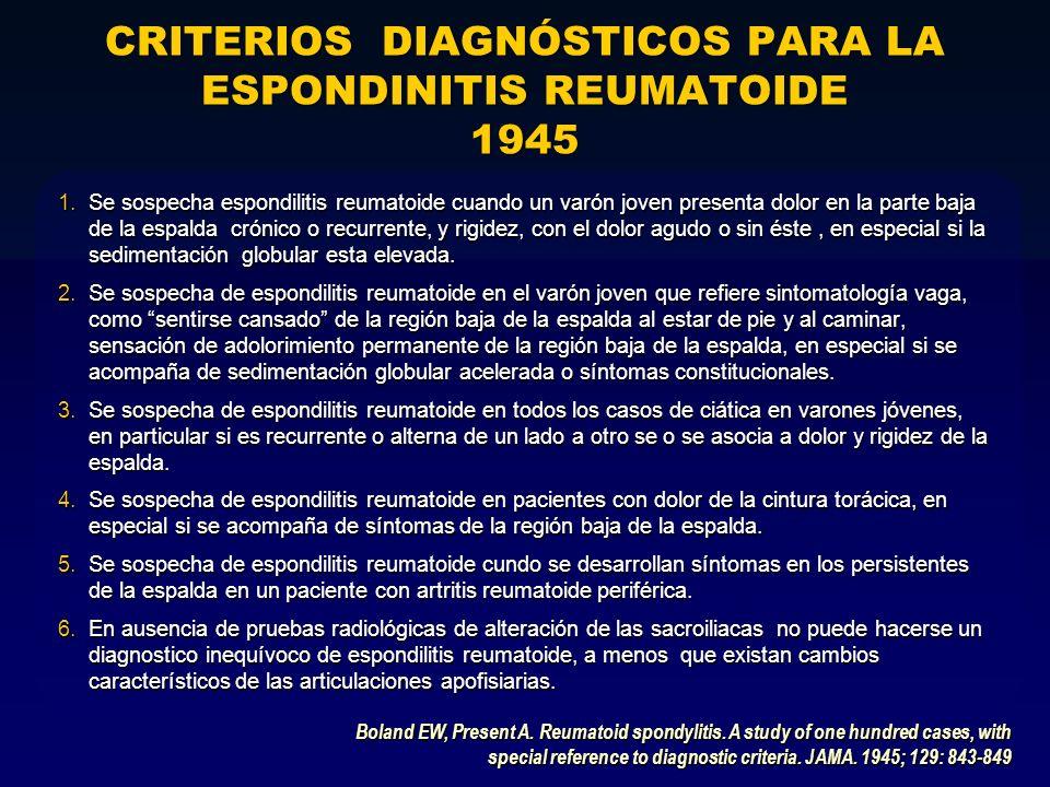 CRITERIOS DIAGNÓSTICOS PARA LA ESPONDINITIS REUMATOIDE 1945