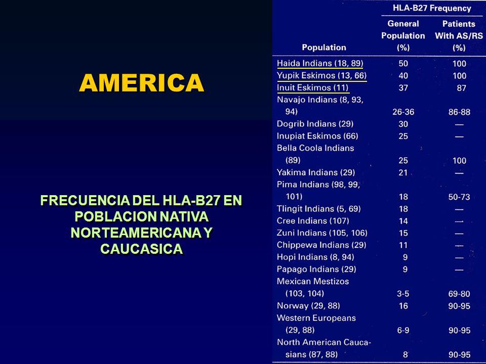 FRECUENCIA DEL HLA-B27 EN POBLACION NATIVA NORTEAMERICANA Y CAUCASICA