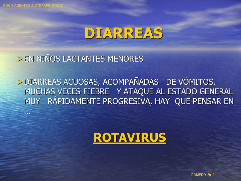 DIARREAS ROTAVIRUS EN NIÑOS LACTANTES MENORES