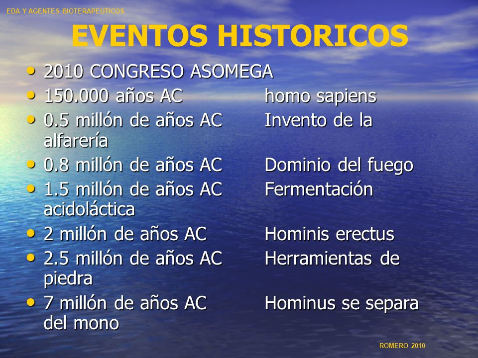 EVENTOS HISTORICOS 2010 CONGRESO ASOMEGA 150.000 años AC homo sapiens