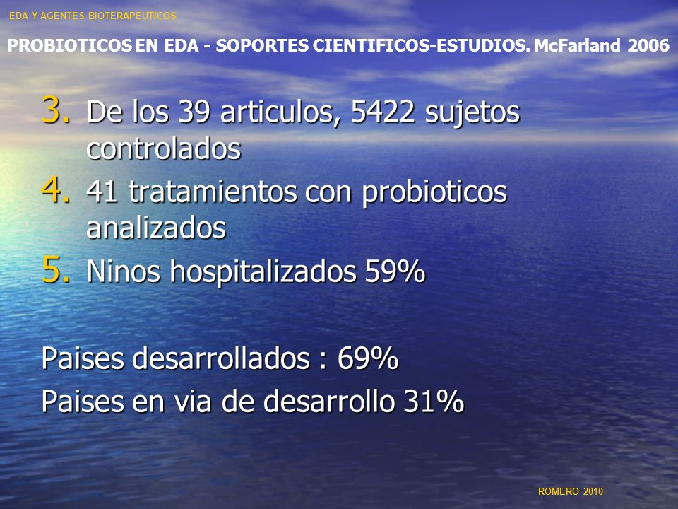 PROBIOTICOS EN EDA - SOPORTES CIENTIFICOS-ESTUDIOS. McFarland 2006