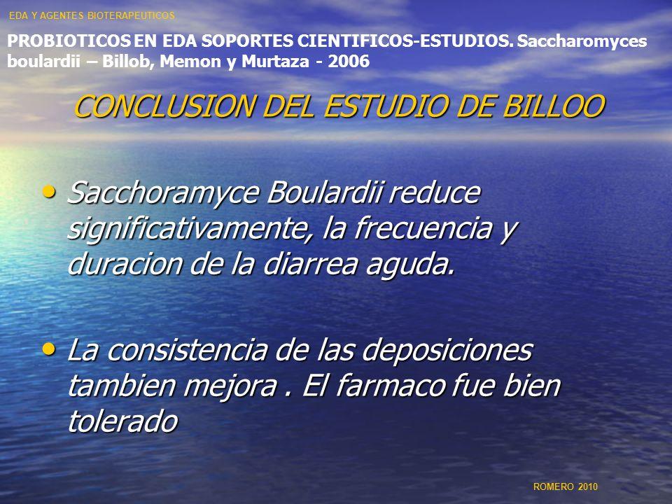 CONCLUSION DEL ESTUDIO DE BILLOO