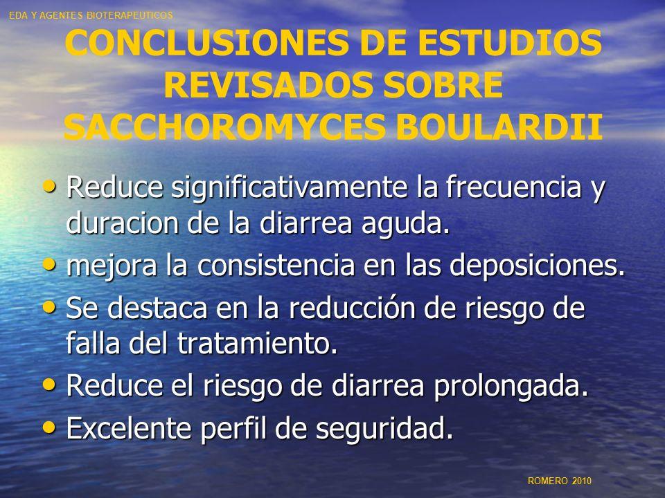 CONCLUSIONES DE ESTUDIOS REVISADOS SOBRE SACCHOROMYCES BOULARDII