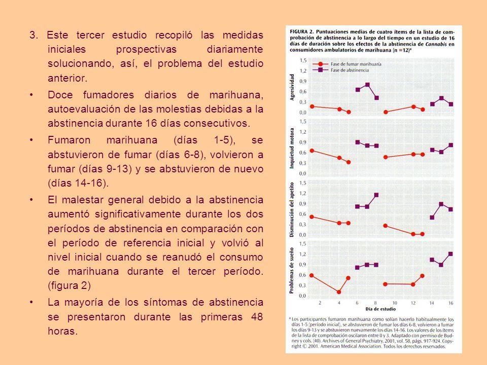 3. Este tercer estudio recopiló las medidas iniciales prospectivas diariamente solucionando, así, el problema del estudio anterior.