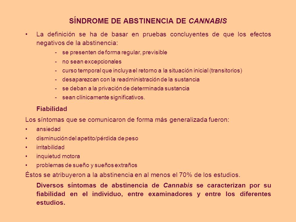 SÍNDROME DE ABSTINENCIA DE CANNABIS