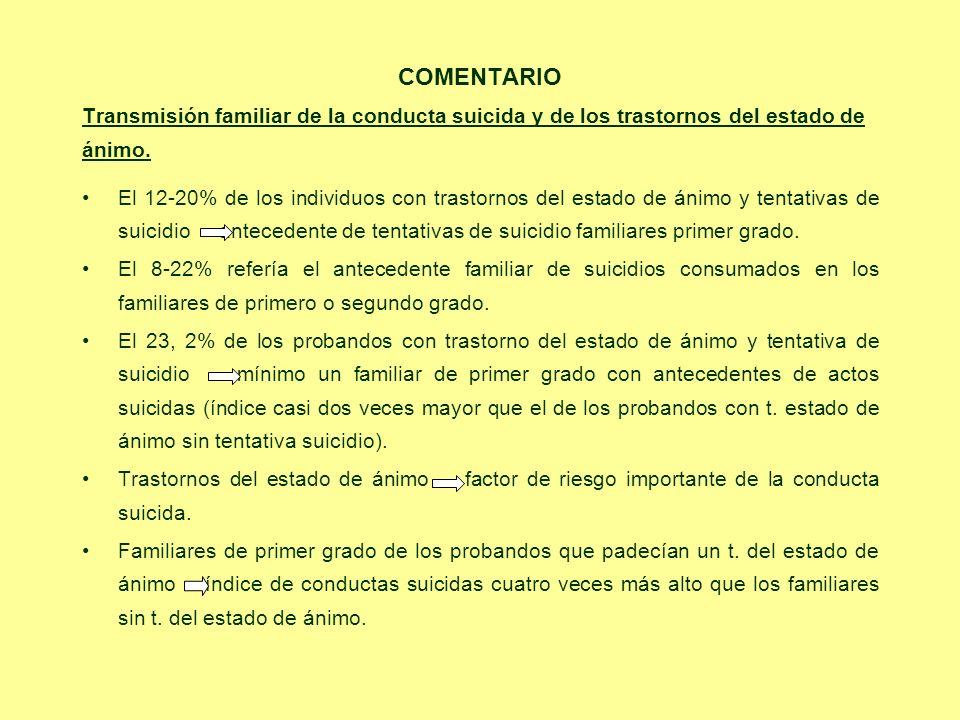 COMENTARIO Transmisión familiar de la conducta suicida y de los trastornos del estado de. ánimo.