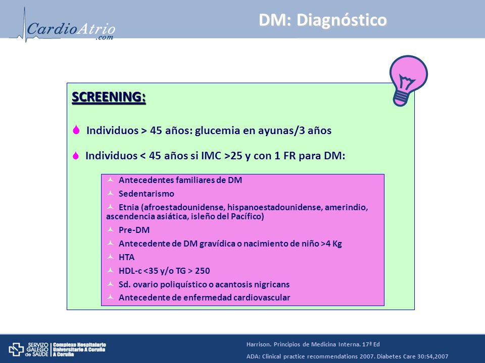 DM: Diagnóstico SCREENING: