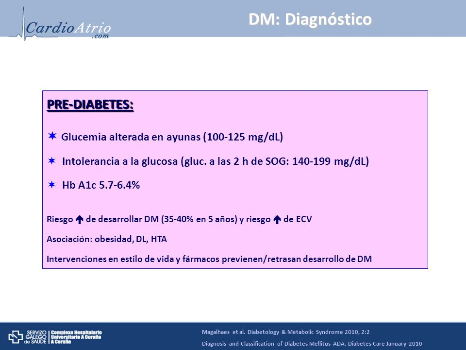DM: Diagnóstico PRE-DIABETES: