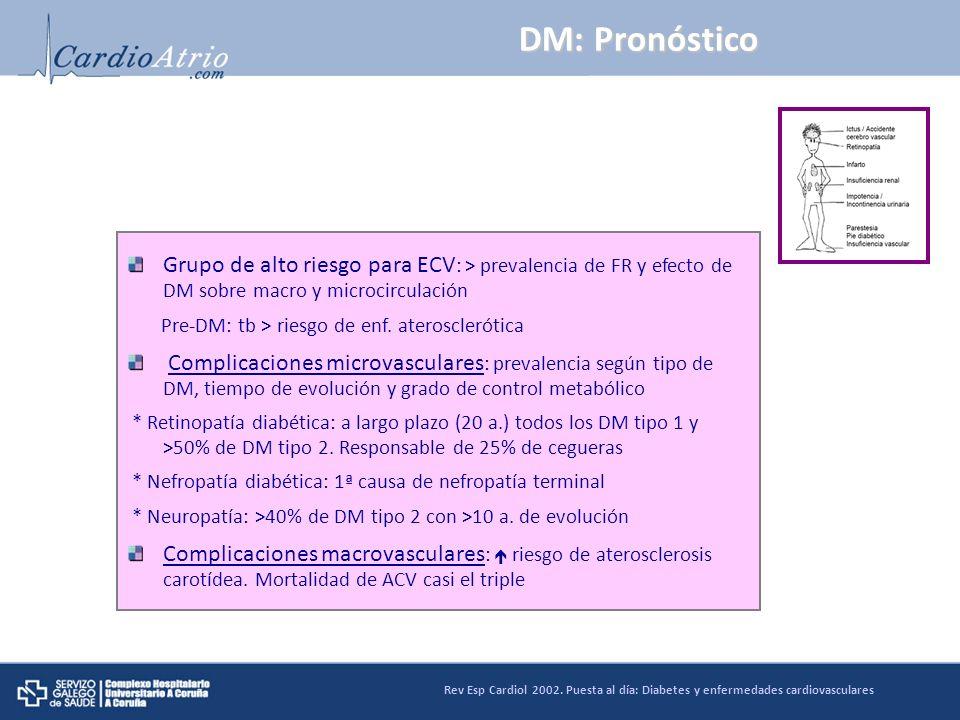 DM: Pronóstico Grupo de alto riesgo para ECV: > prevalencia de FR y efecto de DM sobre macro y microcirculación.