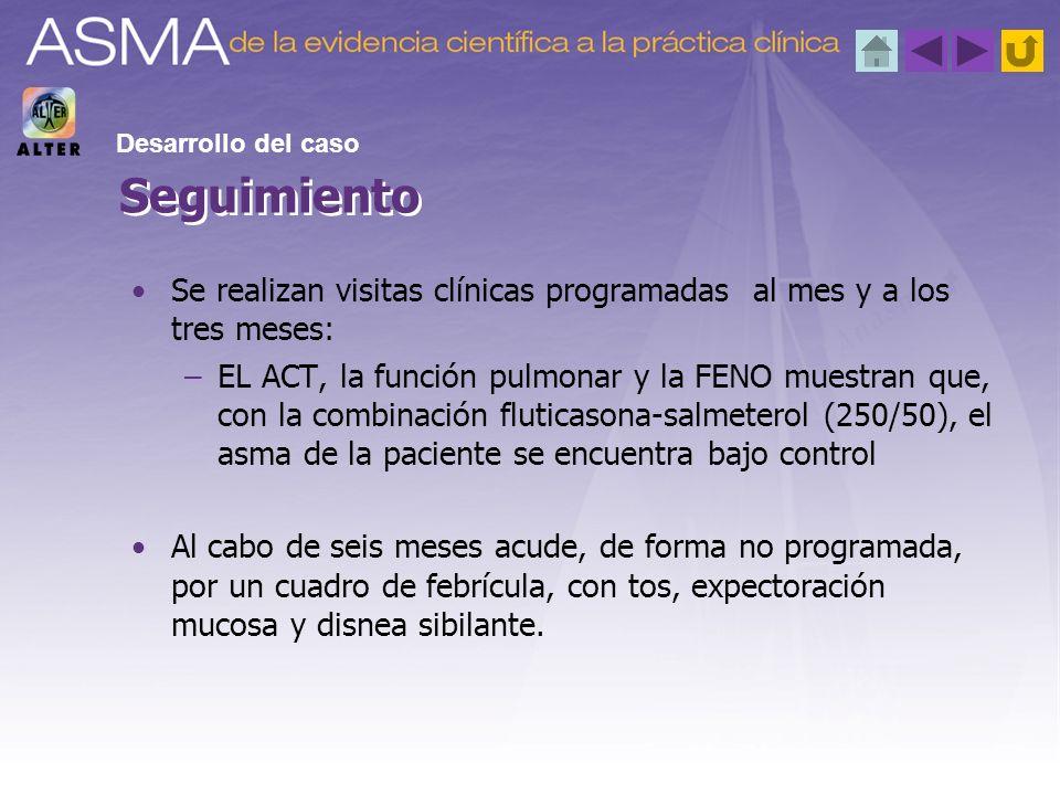 Desarrollo del caso Seguimiento. Se realizan visitas clínicas programadas al mes y a los tres meses: