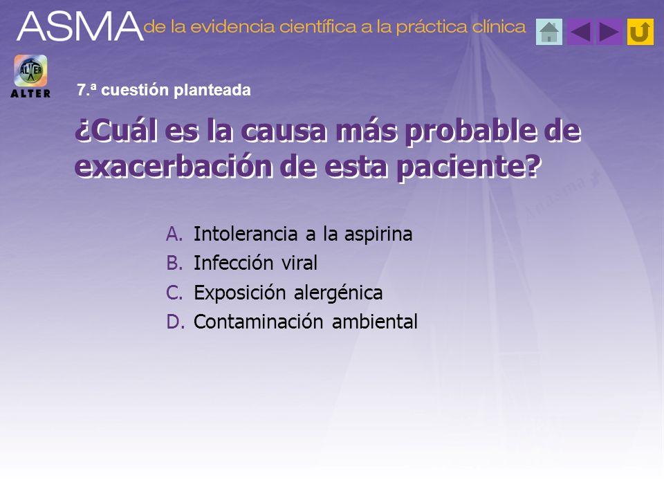 ¿Cuál es la causa más probable de exacerbación de esta paciente