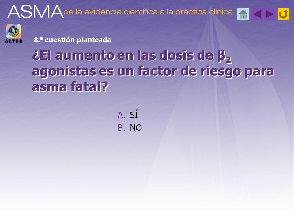 8.ª cuestión planteada ¿El aumento en las dosis de β2 agonistas es un factor de riesgo para asma fatal