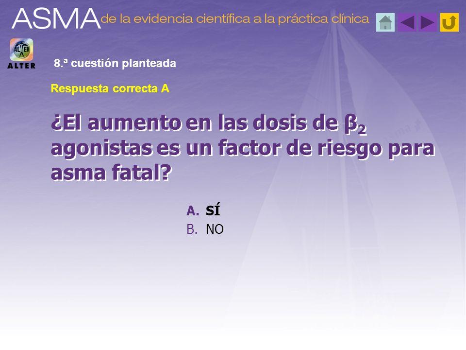 8.ª cuestión planteada Respuesta correcta A. ¿El aumento en las dosis de β2 agonistas es un factor de riesgo para asma fatal