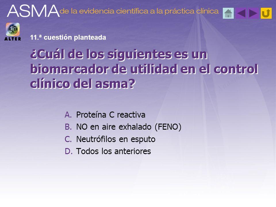 11.ª cuestión planteada ¿Cuál de los siguientes es un biomarcador de utilidad en el control clínico del asma