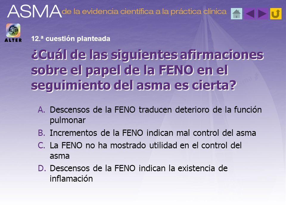 12.ª cuestión planteada ¿Cuál de las siguientes afirmaciones sobre el papel de la FENO en el seguimiento del asma es cierta