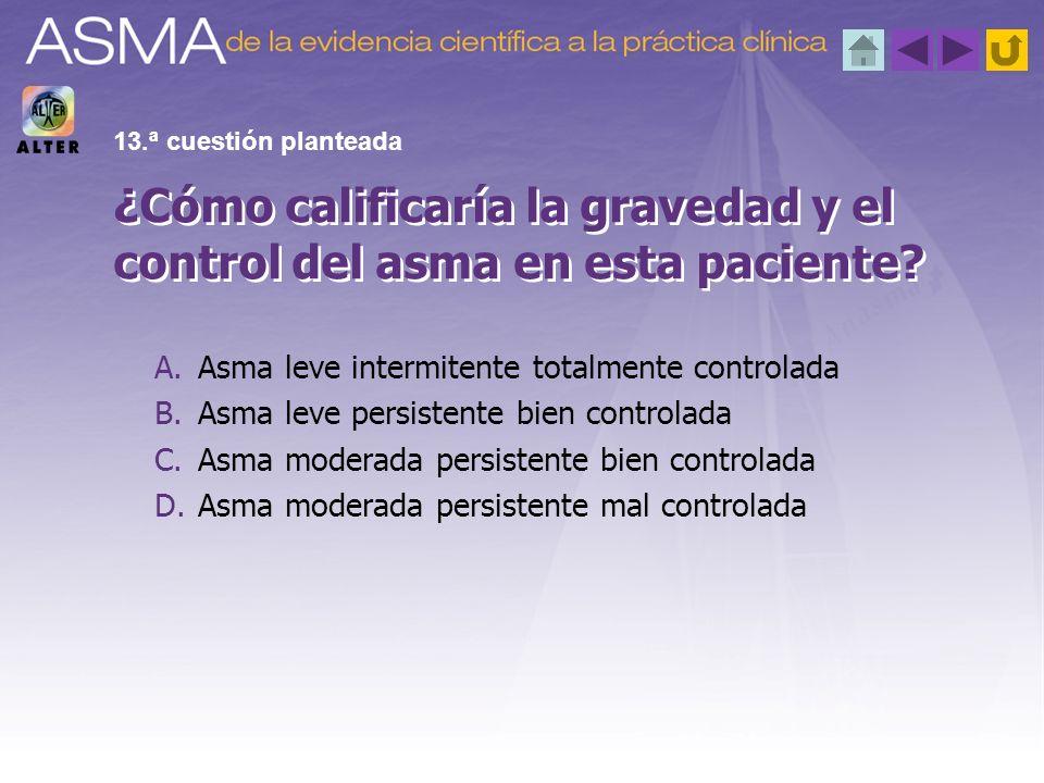 ¿Cómo calificaría la gravedad y el control del asma en esta paciente