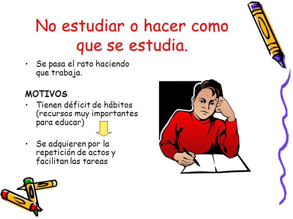 No estudiar o hacer como que se estudia.