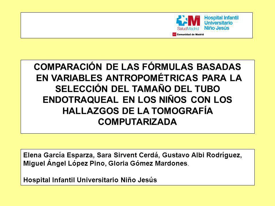 COMPARACIÓN DE LAS FÓRMULAS BASADAS