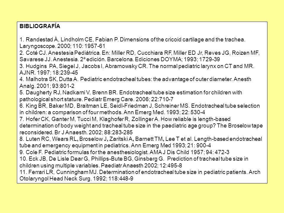 BIBLIOGRAFÍA 1. Randestad Å, Lindholm CE, Fabian P. Dimensions of the cricoid cartilage and the trachea. Laryngoscope. 2000; 110: 1957-61.