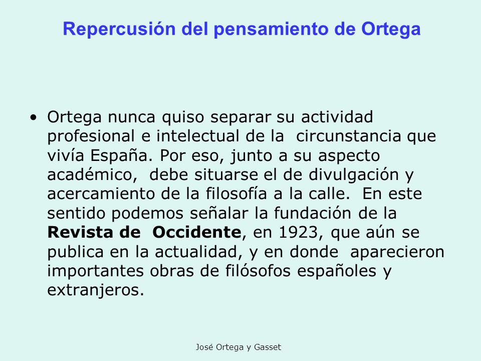 Repercusión del pensamiento de Ortega