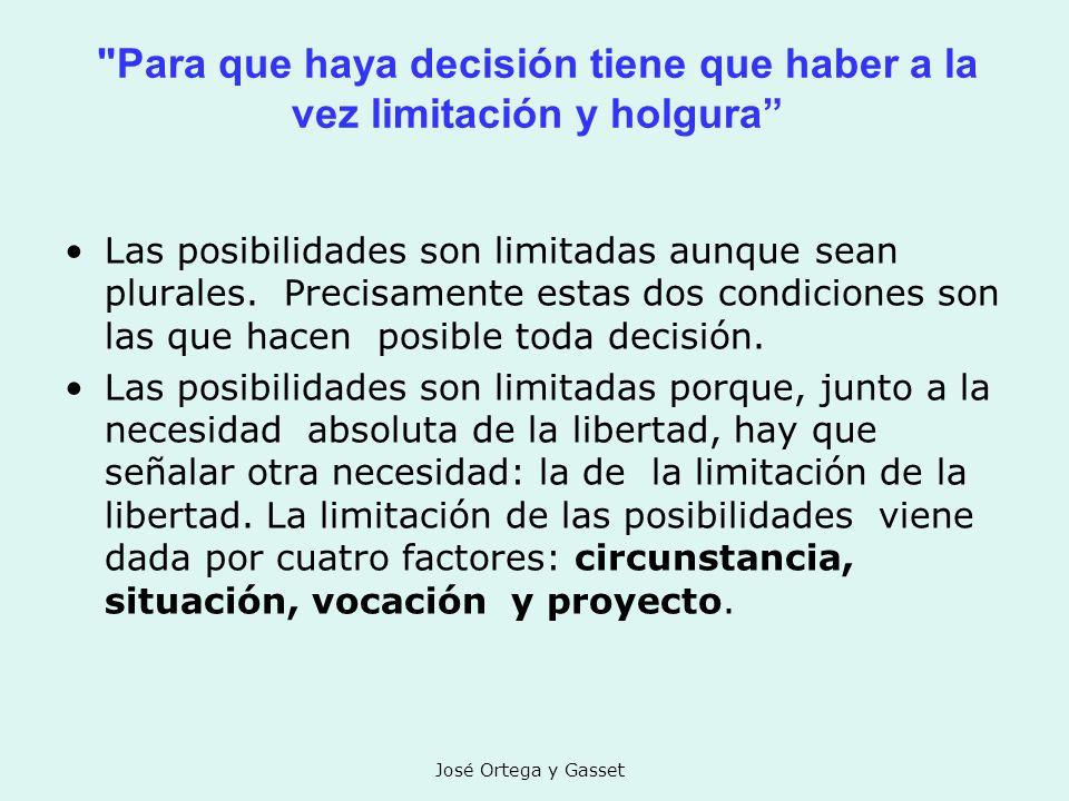 Para que haya decisión tiene que haber a la vez limitación y holgura