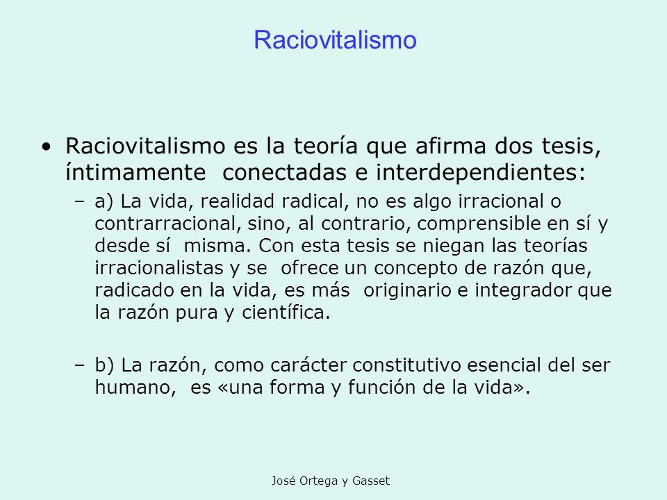 Raciovitalismo Raciovitalismo es la teoría que afirma dos tesis, íntimamente conectadas e interdependientes:
